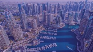 View of Dubai Marina from above